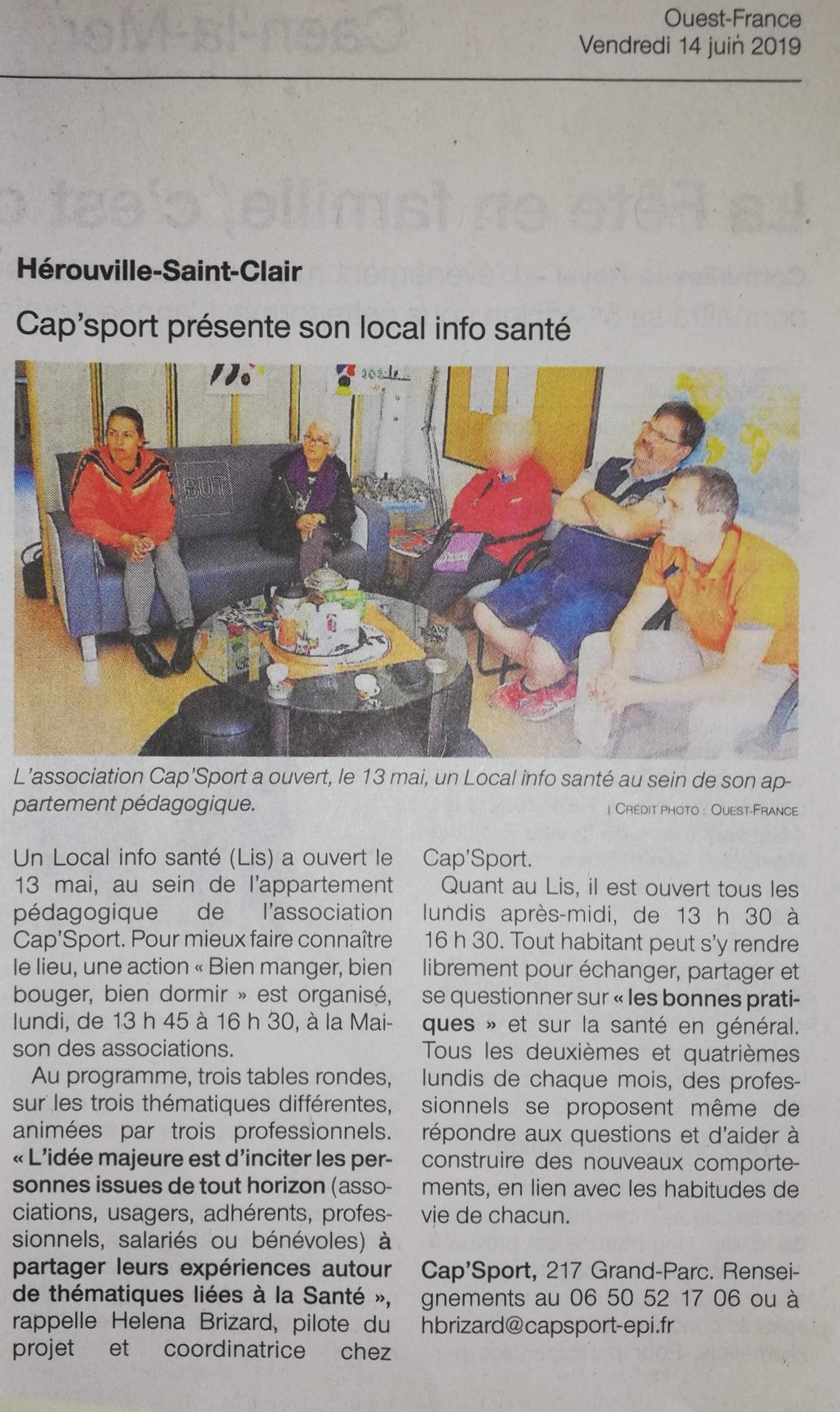 CAP'Sport présente son local info santé