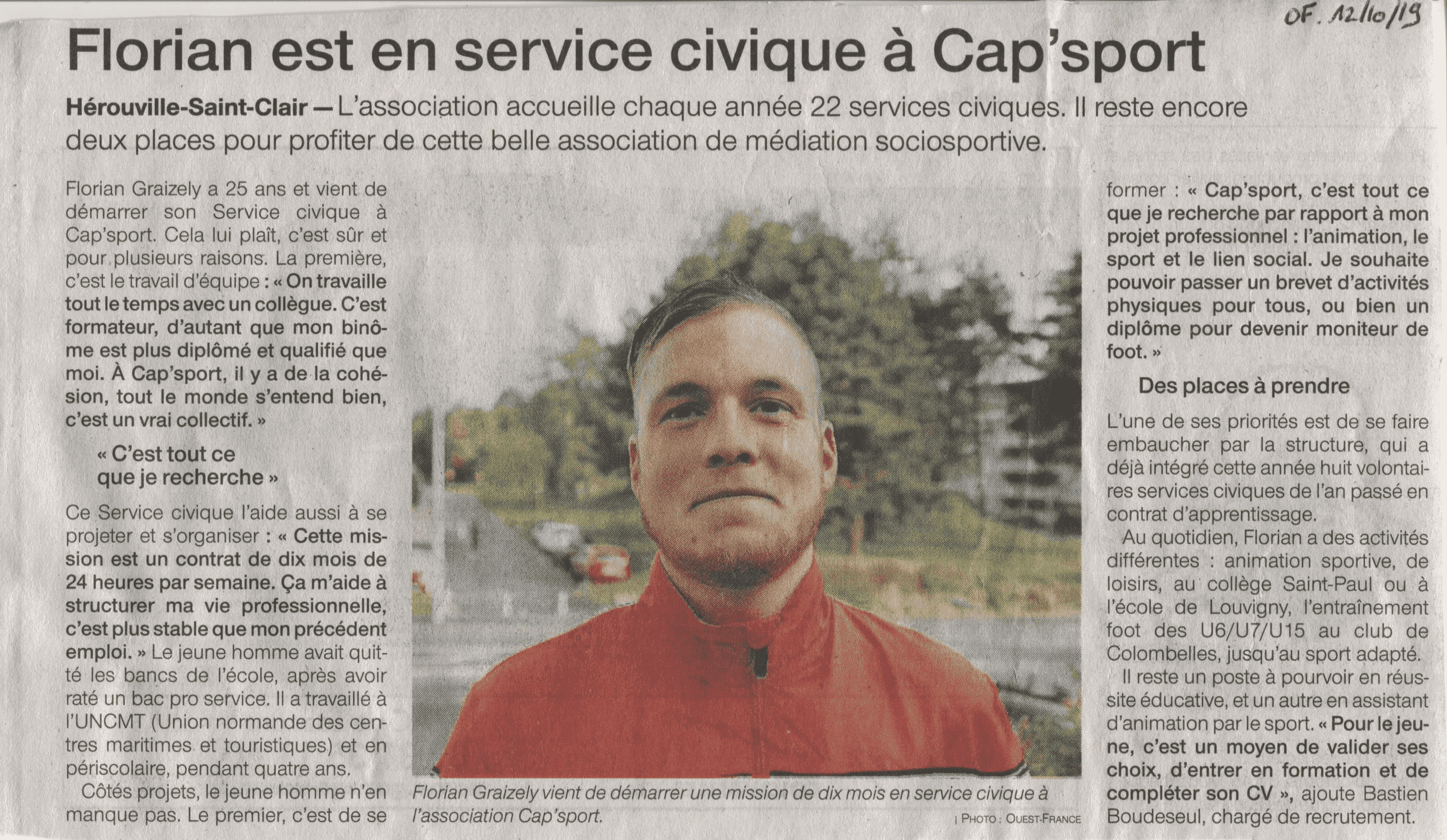 Florian est en service civique à CAP'Sport
